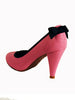 Ladies Designer Fashion Shoes by Hoyvoy High Heel in Pink with Black Bow Feature