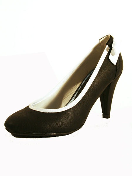 Ladies Designer Fashion Shoes by Hoyvoy High Heel in Black with White Bow Feature