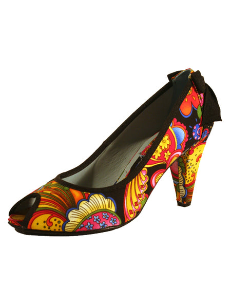 Ladies Designer Fashion Shoes by Hoyvoy Floral Design in Black & Summer Colours