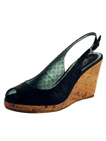 Ladies Designer Fashion Shoes by Hoyvoy Wedge Style Open Toe & Sling-back in Black Textile