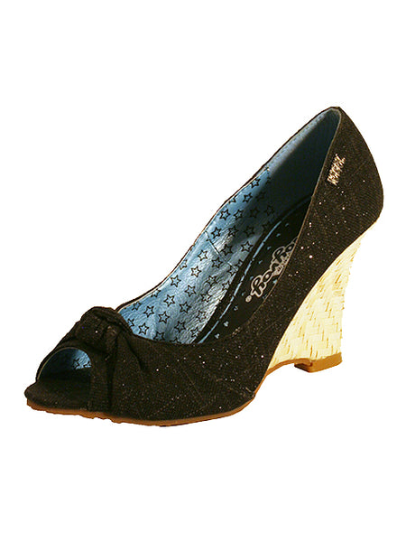 Ladies Designer Fashion Shoes by Hoyvoy Wedge Style Open Toe with Bow Detail & Sparkle Glitter Effect in Black