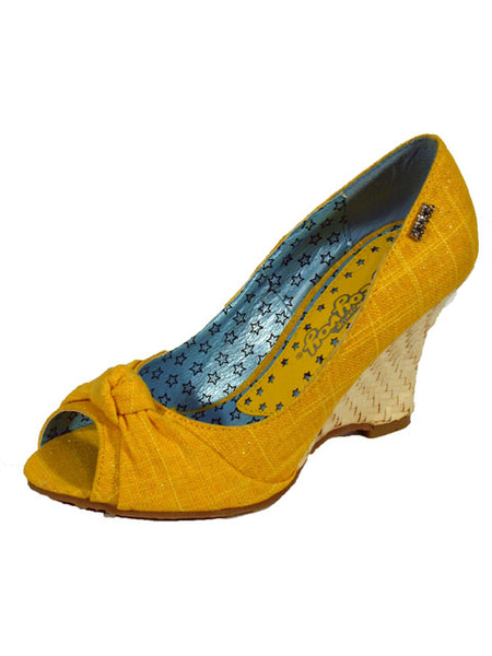 Ladies Designer Fashion Shoes by Hoyvoy Wedge Style Open Toe with Bow Detail & Sparkle Glitter Effect in Yellow