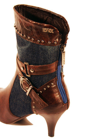 Ladies Designer Fashion Boots by Hoyvoy with Leather & Jean Design in Brown