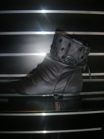 Ladies Designer Fashion Boots by Hoyvoy with 2mm Flat Heel and Stud Design in Black