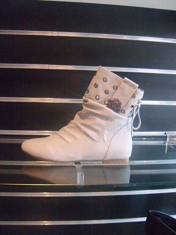 Ladies Designer Fashion Boots by Hoyvoy with 2mm Flat Heel with Stud Design Top in Grey