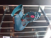 Ladies Designer Fashion Leather Sandals in a Gladiator Style with Zip Fastening in Blue