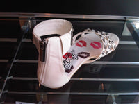Ladies Designer Fashion Leather Sandals in a Gladiator Style with Zip Fastening in White
