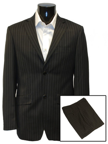Mens Designer Suit by IDentikit in Black with Wide Pinstripe