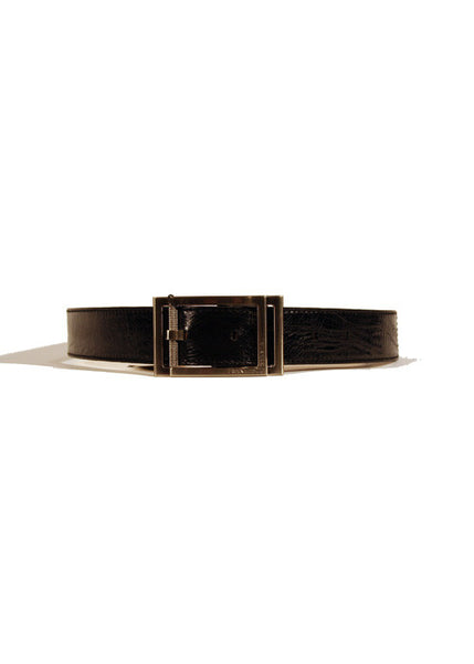 Ladies Designer Leather Belt Featuring Crinkled/Distressed Effect Factory in Black