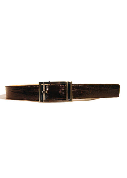 Ladies Designer Leather Belt Factory in Chocolate Brown with Crinkled/Distressed Effect by Francesco Biasia