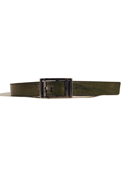 Ladies Designer Leather Belt Featuring Crinkled/Distressed Effect Factory in Green