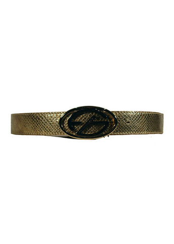 Ladies Designer Leather Belt by Francesco Biasia with Python Skin Effect in Gold