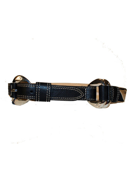 Ladies Designer Leather Belt Ruth in Black with Stitch Effect & Silver Buckle by Francesco Biasia