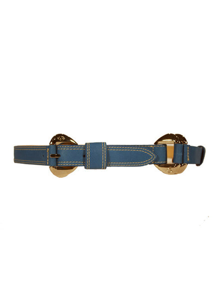Ladies Designer Leather Belt Ruth in Blue with Stitch Effect & Silver Buckle by Francesco Biasia