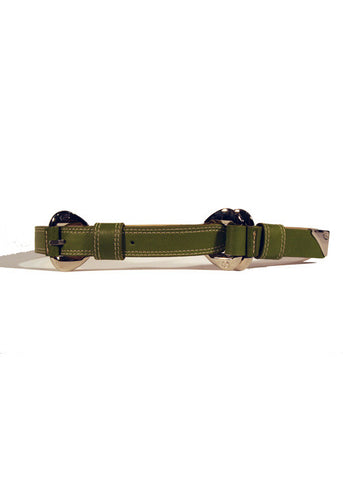 Ladies Designer Leather Belt Ruth by Francesco Biasia in Green with Stitch Effect & Silver Buckle
