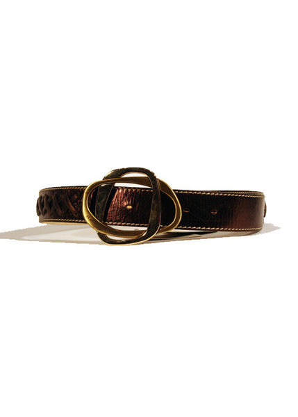 Ladies Designer Leather Belt Featuring Cross Weaved Effect in Brown by Francesco Biasia