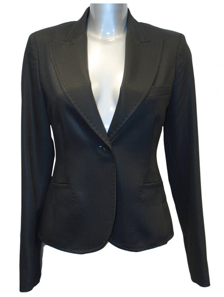 Ladies Designer Fashion Suit Jacket from Guess by Marciano in Black with Leopard Print Lining 100% Lana Wool