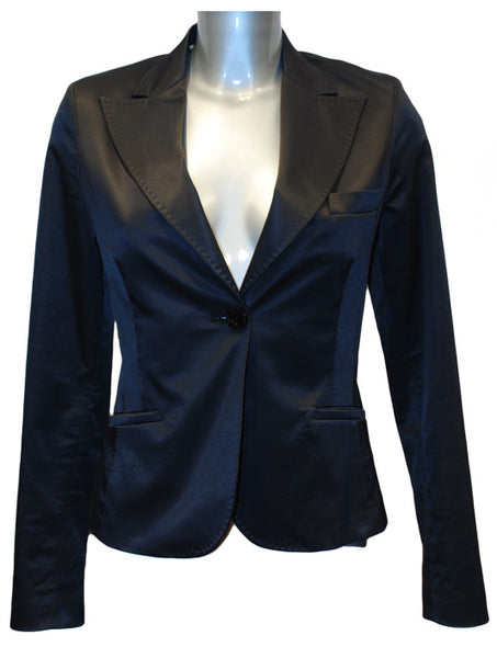 Ladies Designer Fashion Suit Jacket from Guess by Marciano in Black Shine Effect with Silver Zebra Lining