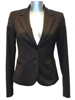Ladies Designer Fashion Suit Jacket from Guess by Marciano in Dark Coffee Brown with Gold Tiger Print Lining