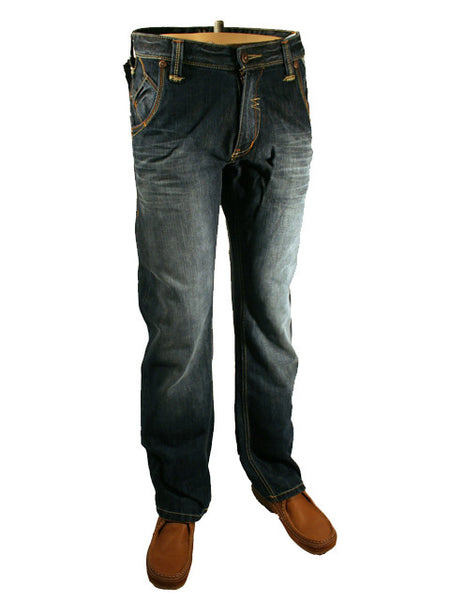 Mens Jeans by Mish Mash Cardio Style with Dark Fade Denim Comfort Fit Boot Cut 20 Inch Hem