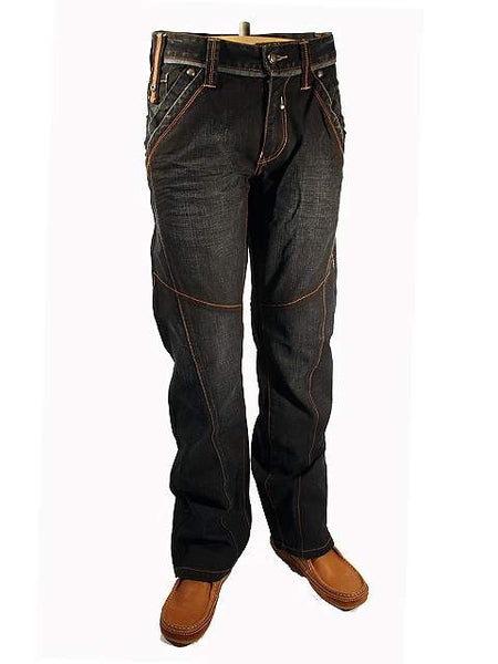 Mens Jeans by Mish Mash Wreckage Loose Fit Straight Leg Dark Denim Style