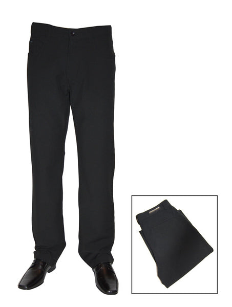 Mens Designer Fashion Trousers by Mish Mash with Zipper Fly in Black