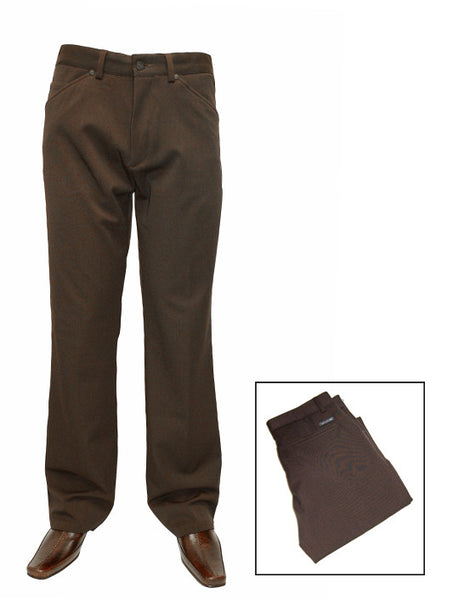 Mens Designer Fashion Trousers by Mish Mash with Zipper Fly in Brown