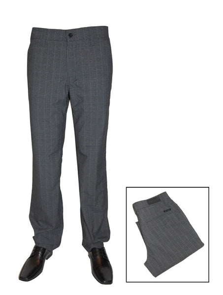 Mens Designer Fashion Trousers Lumina by Mish Mash in Grey with Sky Blue Check