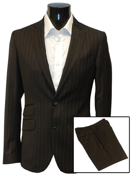 Mens Top Brand Designer Luxury Suit by Dolce & Gabbana in Black with Fine Red Pinstripe