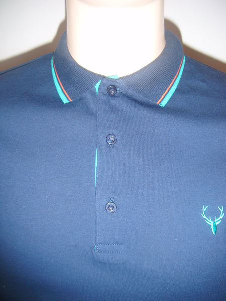 Mens Designer Fashion Polo Shirt Brighton by Daniel Christian in Navy Blue