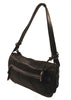 Ladies Designer Fashion Handbag by Francesco Biasia Ruth with Exterior Zip Pocket & Magnetic Snap Closure in Black