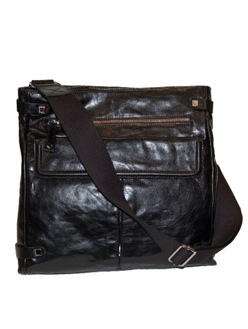 Mens and Ladies Designer Fashion Shoulder Bag City by Francesco Biasia Beautiful Leather Design in Black