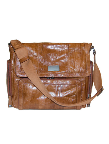 Mens and Ladies Designer Fashion Shoulder Bag Factory by Francesco Biasia Beautiful Italian Leather Design in Tan or Green