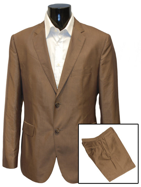 Mens Top Brand Designer Luxury Suit by Hugo Boss in Brown Shine Effect