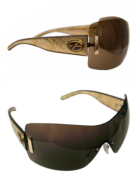Ladies Designer Fashion Sunglasses by Francesco Biasia with Gold Snakeskin Rim & Dark Tinted Lenses