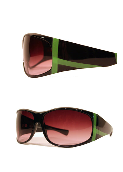 Ladies Designer Fashion Sunglasses by Francesco Biasia with Black Rims & Green Stripe Design