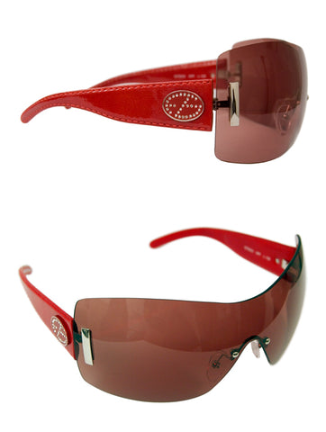 Ladies Designer Fashion Sunglasses by Francesco Biasia with Red Patent Rims with Dark Tinted Lenses