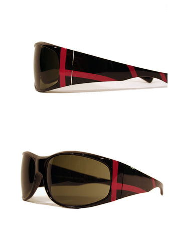 Ladies Designer Fashion Sunglasses by Francesco Biasia with Black Rims & Pink Stripe Design