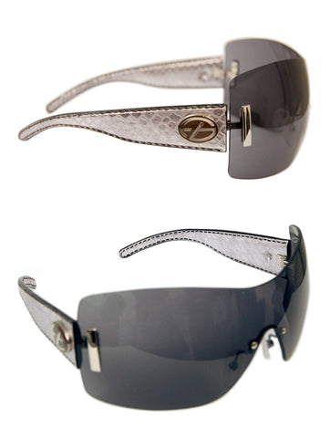 Ladies Designer Fashion Sunglasses by Francesco Biasia with Silver Snakeskin Rims & Dark Tinted Lenses