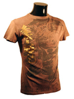 Mens Designer Fashion T-Shirt by Advocate H1 in Light Brown with Amazing Chinese Spiritual Theme