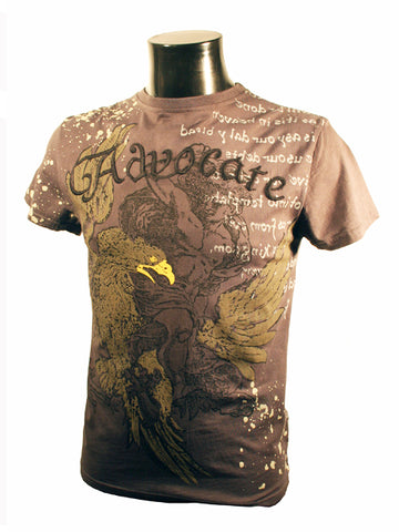 Mens Designer Fashion T-Shirt by Advocate H3 in Grey with Eagle & Coat of Arms Theme
