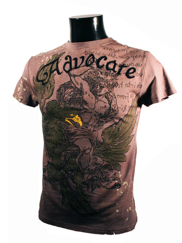 Mens Designer Fashion T-Shirt by Advocate H3 in Light Brown with Eagle & Coat of Arms Theme