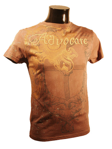 Mens Designer Fashion T-Shirt by Advocate H4 in Light Brown with Gothic Theme