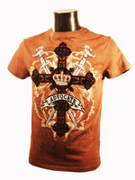 Mens Designer Fashion T-Shirt by Advocate H7 in Brown with Cross & Sword Theme