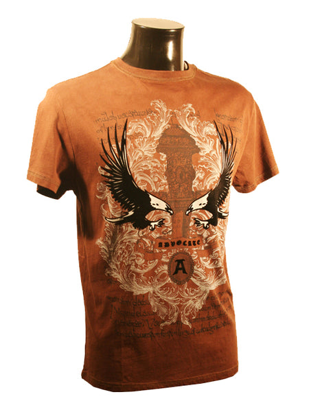 Mens Designer Fashion T-Shirt by Advocate H8 in Brown with Amazing Eagle Theme
