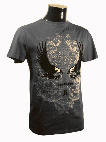 Mens Designer Fashion T-Shirt by Advocate H8 in Grey with Amazing Eagle Theme