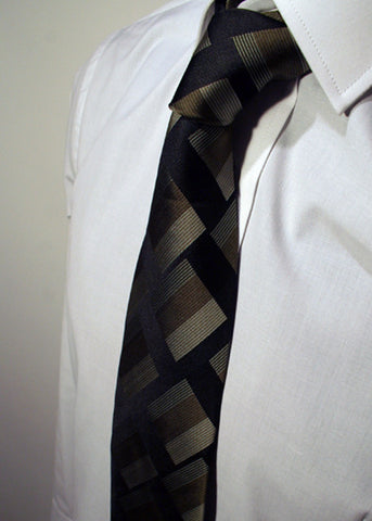 Mens Designer Fashion Tie Kensington by Daniel Christian in Black with Green Square Pattern