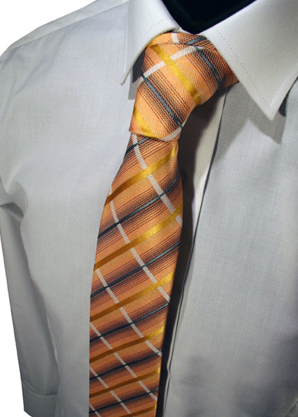 Mens Designer Fashion Tie Kensington by Daniel Christian in Orange with Yellow White & Blue Stripe Design