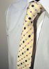Mens Designer Fashion Tie Kensington by Daniel Christian in Cream with Small & Large Pink and Purple Spots
