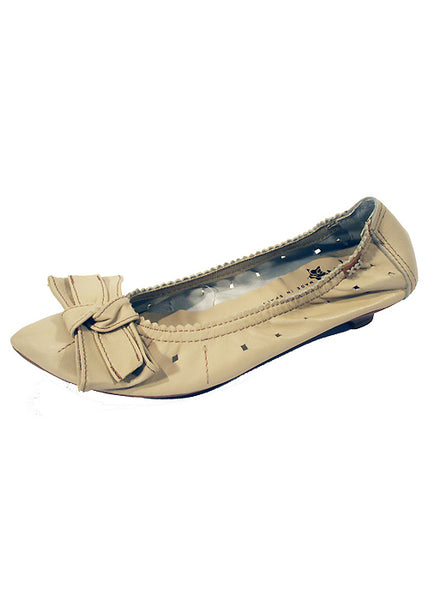 Ladies Designer Fashion Shoes by XTi Flat Casual Pointed Design with Bow in Beige